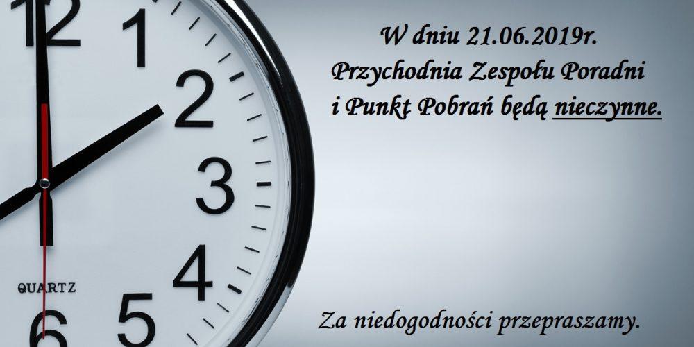 Zmiana godzin pracy w dniu 21.06.2019