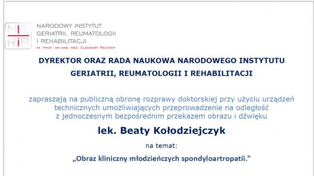 Obrona rozprawy doktorskiej lek. med. Beaty Kołodziejczyk, 9.02.2021, godz. 11.00