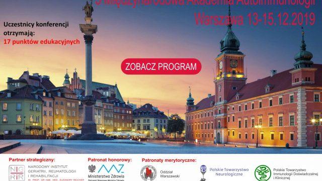 5 Międzynarodowa Akademia Autoimmunologii Warszawa 13-15.12.2019