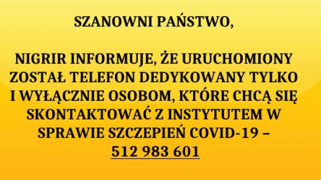 Nowy numer telefonu dla osób chcących skontaktować się z NIGRiR w sprawie szczepień COVID-19