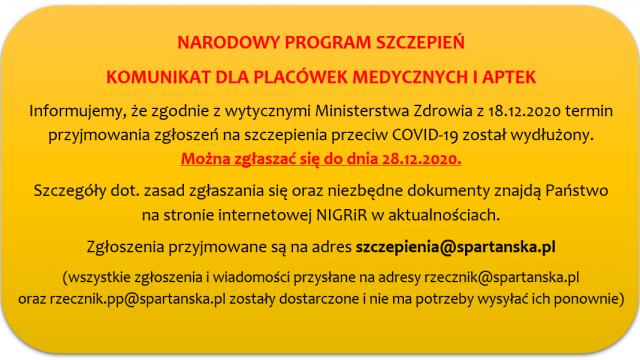 Narodowy program szczepień. Komunikat dla placówek medycznych i aptek.