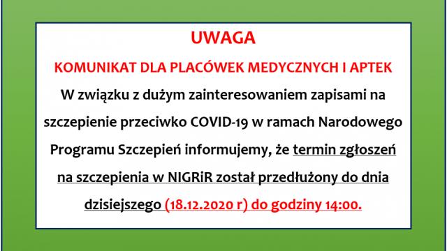 Program szczepień przeciwko COVID-19. Komunikat dla placówek medycznych i aptek.