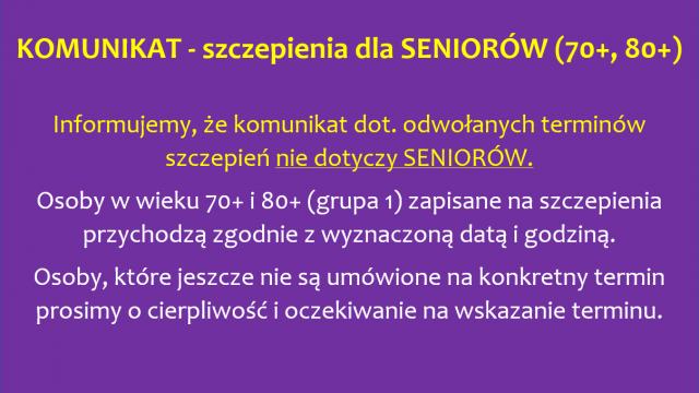Szczepienia dla Seniorów (70+, 80+)