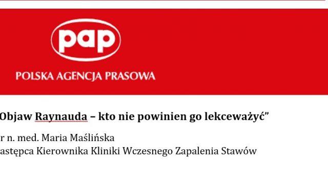 """Zapraszamy do lektury artykułu Polskiej Agencji Prasowej """"Objaw Raynauda – kto nie powinien go lekceważyć""""."""