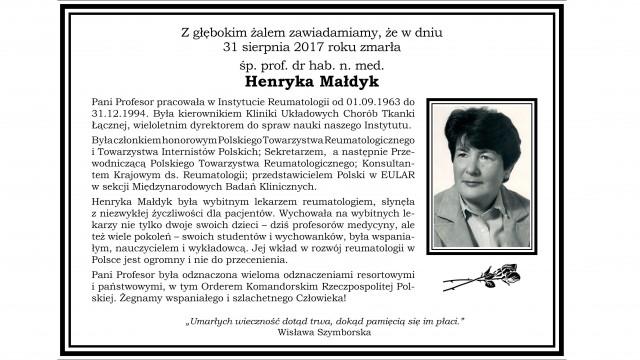 Żegnamy Śp. Profesor Henrykę Małdyk