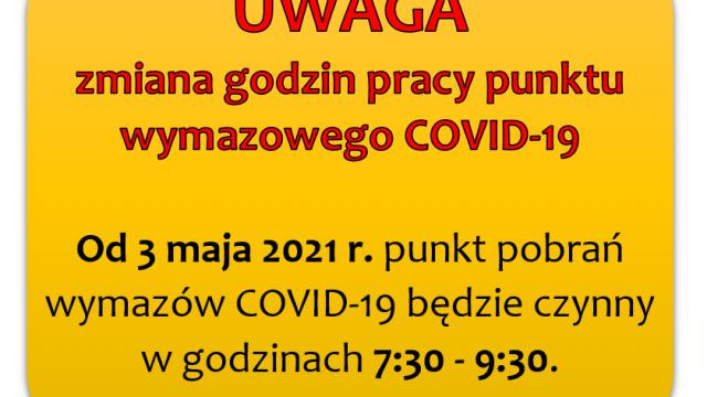 Zmiana godzin pracy punktu wymazowego COVID-19