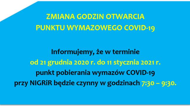 Zmiana Godzin Otwarcia Punktu Wymazowego COVID-19