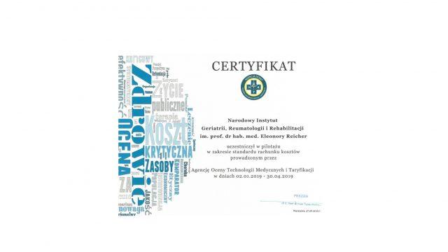 Certyfikat uczestnictwa w pilotażu w zakresie standardu rachunku kosztów.