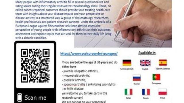 Zapraszamy do udziału w europejskim badaniu mającym na celu ocenę narzędzi stosowanych do samooceny stanu zdrowia przez pacjentów z zapalnymi chorobami reumatycznymi