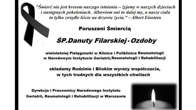 Z głębokim smutkiem żegnamy ŚP. Danutę Filarską-Ozdobę – Pielęgniarkę NIGRiR