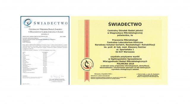 Certyfikaty jakości Centralnego Laboratorium Klinicznego.