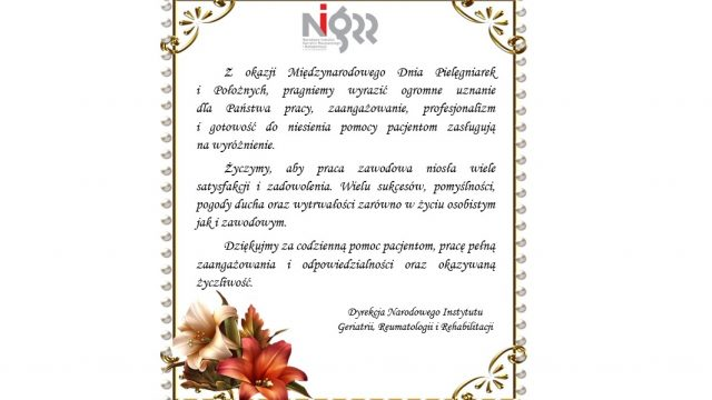 Życzenia z okazji Międzynarodowego Dnia Pielęgniarek i Położnych